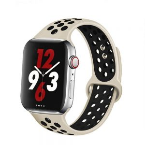 Apple Watch Bands - Breathable Sports Apple Watch Band Antique White Black Series 6 SE 5 4 3 2 1 38mm 40mm 42mm 44mm