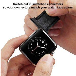 Black Apple Watch Connectors Pair 38mm 40mm 42mm 44mm Series 5 4 3 2 1