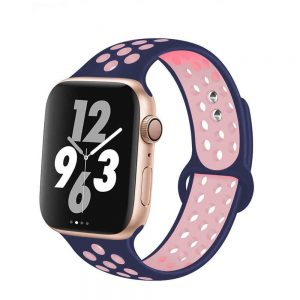Apple Watch Bands - Breathable Sports Apple Watch Band Navy Pink Series 6 SE 5 4 3 2 1 38mm 40mm 42mm 44mm