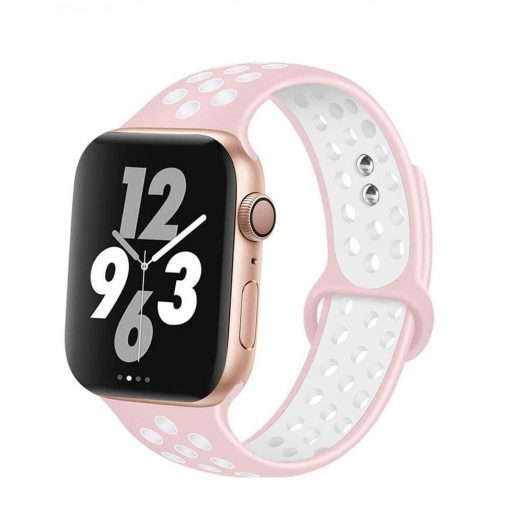 Apple Watch Bands - Breathable Sports Apple Watch Band Pink White Series 6 SE 5 4 3 2 1 38mm 40mm 42mm 44mm