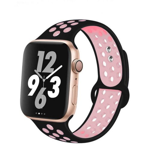 Apple Watch Bands - Breathable Sports Apple Watch Band Black Pink Series 6 SE 5 4 3 2 1 38mm 40mm 42mm 44mm