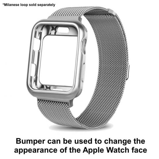 Apple Watch TPU Bumper Protector - Silver with Milanese loop