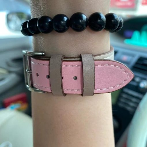 Vibrant Leather Apple Watch Band - Pink White