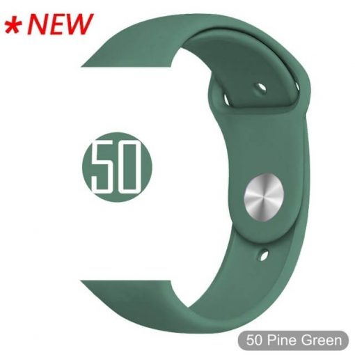 50 Pine Green Bright Sports Silicone Apple Watch Band