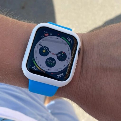 White Apple Watch Bumper Case with Blue Apple Watch Band