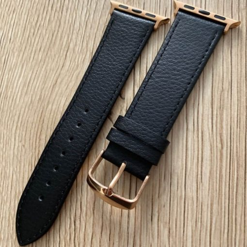Signature Leather Band for Apple Watch 40mm 44mm Black with Rose Gold