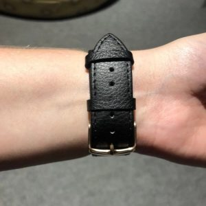 Signature Leather Band for Apple Watch 40mm 44mm Black with Silver