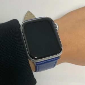 Signature Leather Band for Apple Watch 40mm 44mm Blue with Silver