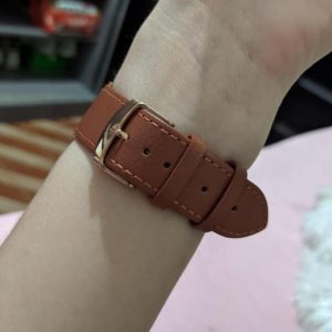 Signature Leather Band for Apple Watch 40mm 44mm Brown with Rose Gold