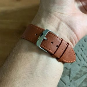 Signature Leather Band for Apple Watch 40mm 44mm Brown with Silver