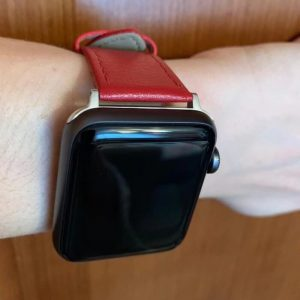 Signature Leather Band for Apple Watch 40mm 44mm Red with Silver