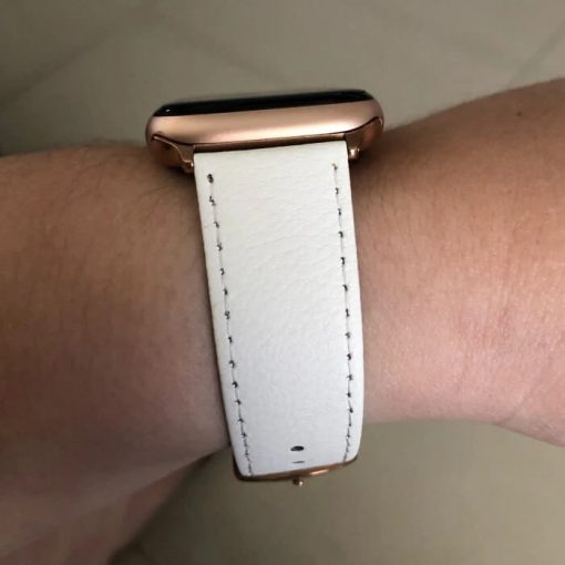 Signature Leather Band for Apple Watch 40mm 44mm White with Rose Gold