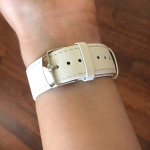 Signature Leather Band for Apple Watch 40mm 44mm White with Silver
