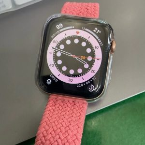 Pink Punch Braided Loop with a Clear Protector Apple Watch Case