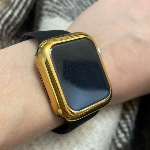 Gold TPU Apple Watch Case with a Black Bright Sports Band