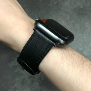 Signature Leather Band for Apple Watch 40mm 44mm Black with Black