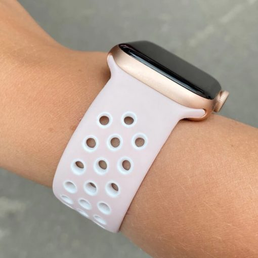 Apple Watch Bands - Breathable Sports Pink White Series 6 SE 5 4 3 2 1 38mm 40mm 42mm 44mm